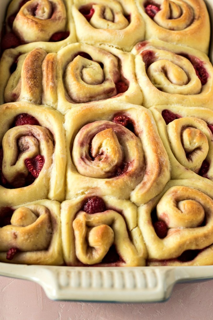 Pan of Raspberry Sweet Rolls before being iced