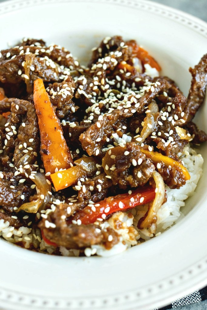 Mongolian Beef on a bed of white rice