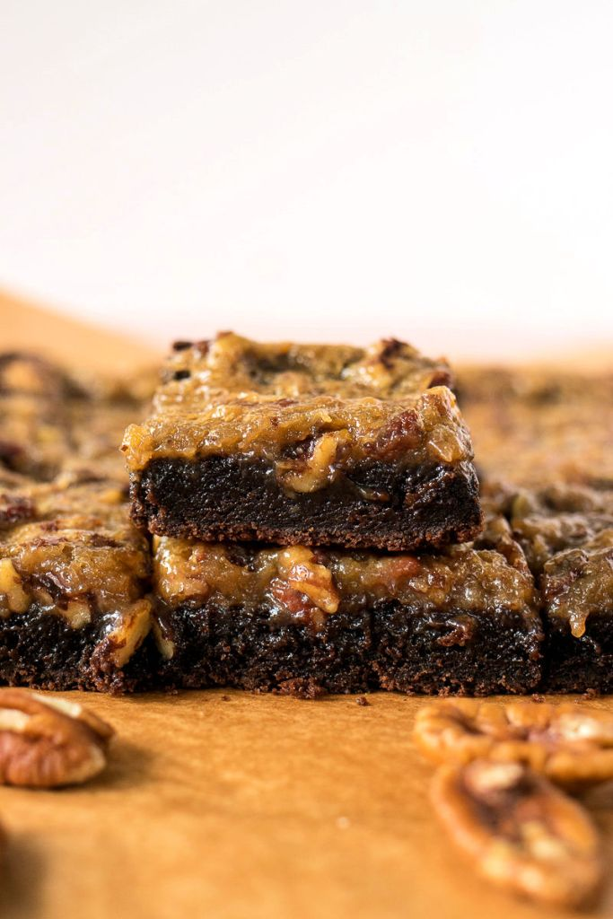 pecan pie brownies stacked on top of each other