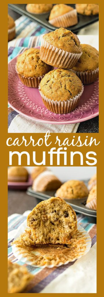 collage photo of carrot raisin muffins with descriptive text