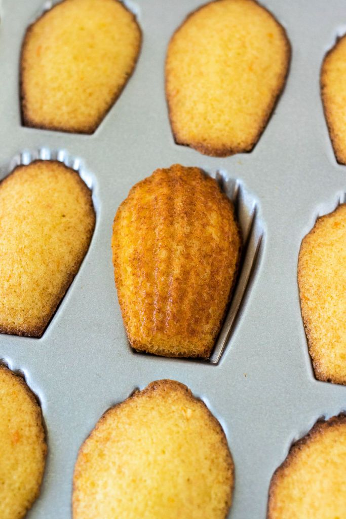 madeleines sitting in the pan with one flipped around to show the scallop shape