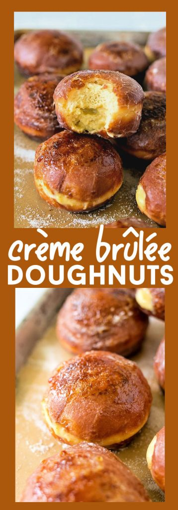 collage of creme brulee doughnuts with descriptive text