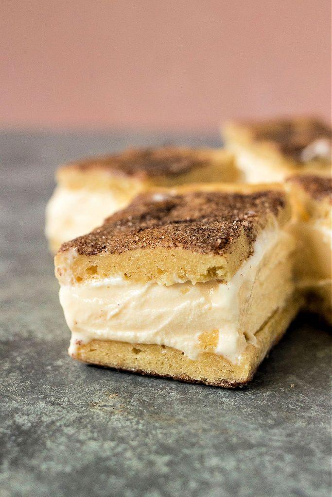 close up of snickerdoodle ice cream sandwich