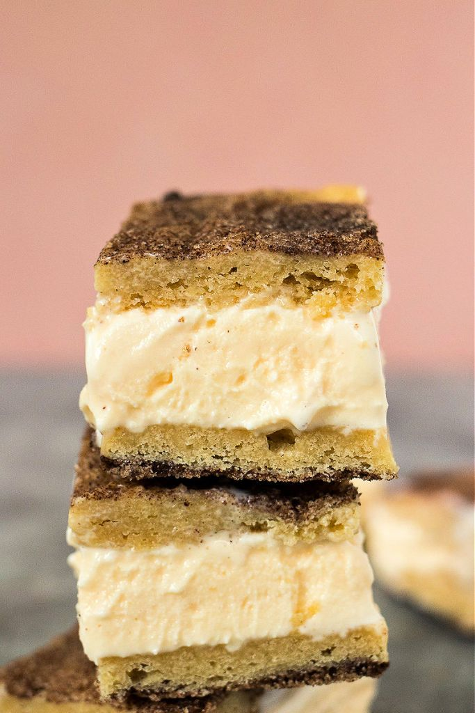 close up of stacked snickerdoodle ice cream sandwiches