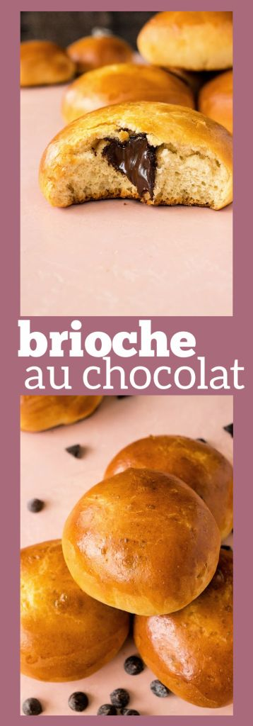 collage of photos of brioche au chocolat with descriptive text