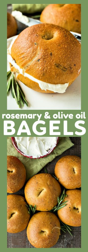 collage of rosemary and olive oil bagels with descriptive text
