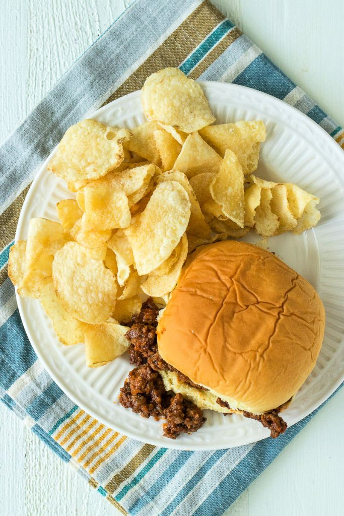 overhead shot of sloppy joe on a plate with kettle chips