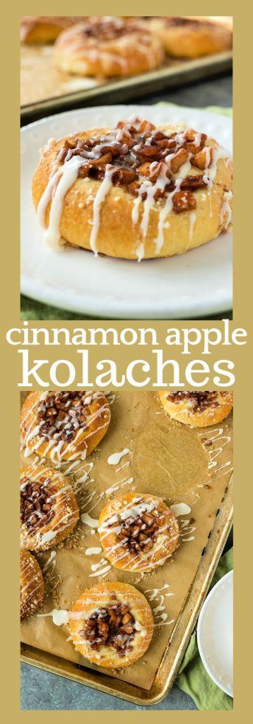 collage of photos of cinnamon apple kolaches with descriptive text