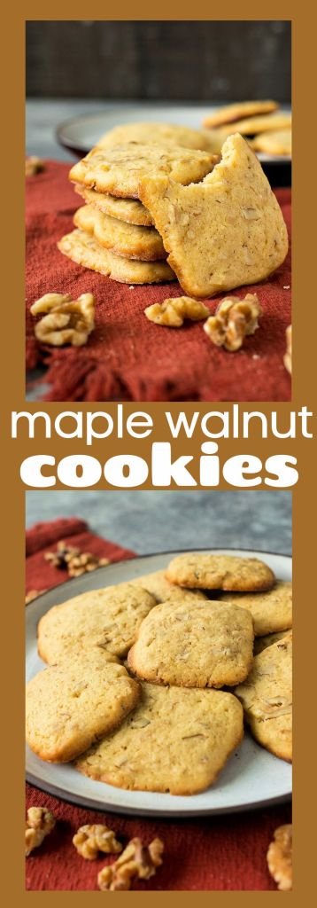 collage of photos of maple walnut cookies with descriptive text