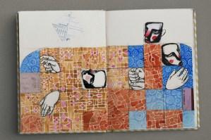 esbós brugit aquarel·la collage retolador