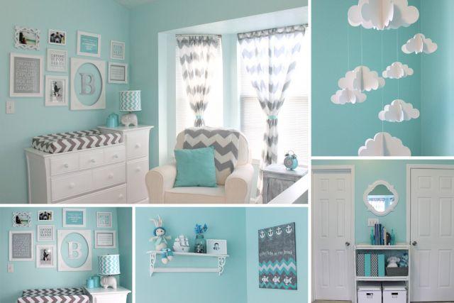 une chambre de bebe bleue et grise c