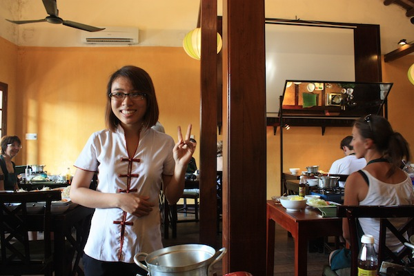 Market tour guide in the Morning Glory Cooking Class classroom, Hoi An, Vietnam