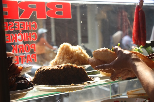 Banh mi ingredients on street cart in Hoi An, Vietnam