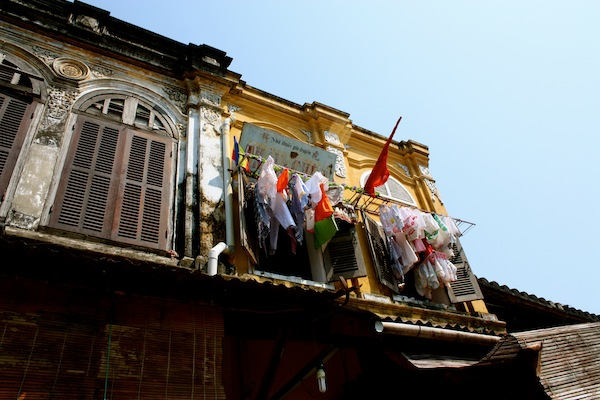 Clothesline hanging on a balcony in Hoi An, Vietnam