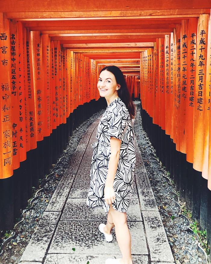 Christine Amorose Merrill at Fushimi Inari Shrine in Kyoto, Japan