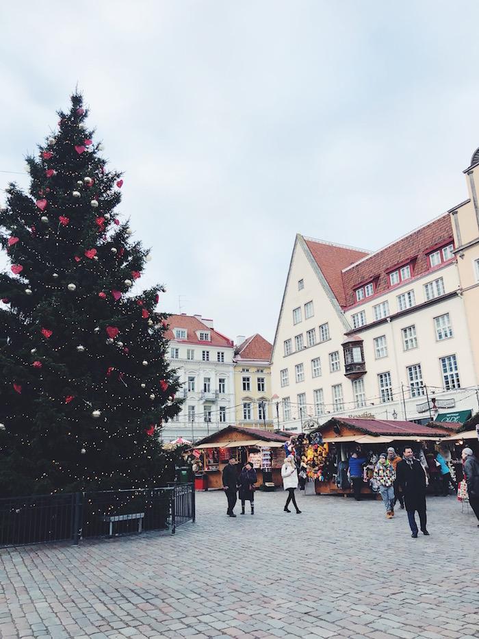 Christmas market square in Tallinn, Estonia