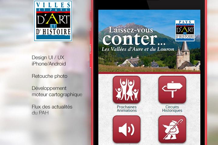 Mockup de l'application mobile du Pays d'art et d'histoire des vallées d'Aure et du Louron réalisée par le CETIR