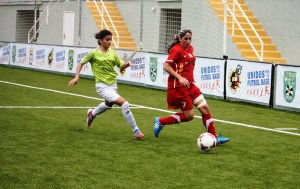 Desi Macías marcó el gol del Carmelitas ante el Real Betis.