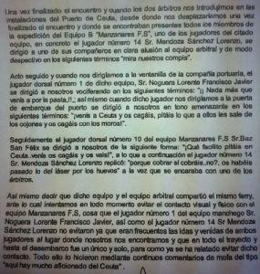 Reproducción del anexo al acta del partido entre Ceutí FS y Manzanares FS