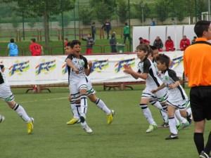 Los chicos de Ceuta, celebrando uno de los goles que han anotado hoy en el Nacional