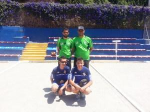 Arriba, la dupleta absoluta ganadora, formada por Fran y Jonathan León, y agachados, los vencedores juveniles, Jesús Fernández y Vicente Fernández