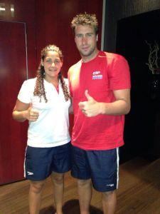 Lorena Miranda y Guillermo Molina posan juntos en las horas previas del Mundial de Barcelona