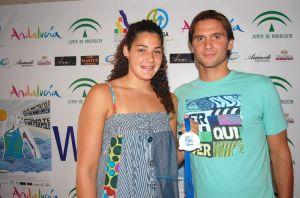 La jugadora ceutí junto a su entrenador en el Dos Hermanas, Javier Cortés