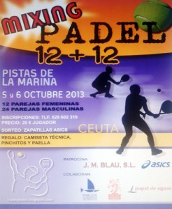 Reproducción del cartel del 'Mixing Pádel 12 + 12', que será los días 5 y 6 de octubre en las Pistas del Parque del Mediterráneo