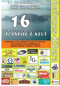 Cartel anunciador de la III Travesía a Nado Beliones - La Ribera, que se celebra este sábado