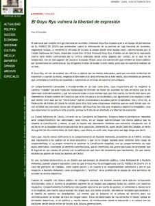 Reproducción del artículo de El Pueblo de Ceuta del 15 de octubre de 2012