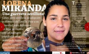 Lorena Miranda, protagonista del número de octubre de la revista oficial del Sevilla FC con un amplio reportaje