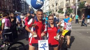 Hachad y Mahmdi, con sus trofeos y regalos, este domingo en Algeciras