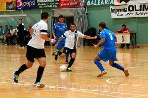 Mohamed dispara a puerta en el Ceutí - Santaella de la primera vuelta, que acabó con triunfo caballa por 7-4