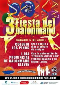 Cartel anunciador de la 3ª fiesta del balonmano que se celebrará en el colegio Los Pinos