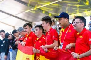 Vázquez, junto a sus compañeros de la selección española, en el podio del Mundial