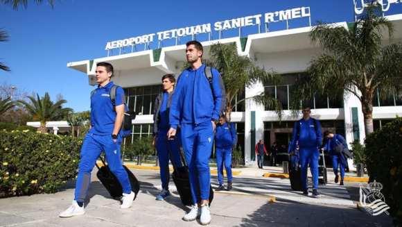 La Real Sociedad, a su llegada al aeropuerto de Tetuán