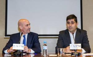 Luis Rubiales, presidente de la RFEF, y David Aganzo, presidente de la AFE, en una imagen de archivo