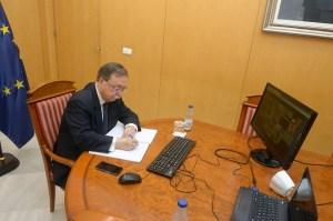 Juan Vivas, durante la videoconferencia de este domingo