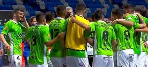 Jugadores del Palma Futsal celebran su clasificación para las semifinales del 'play off' por el título
