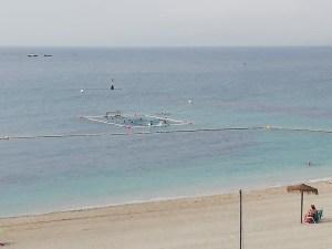 Imagen del campo de waterpolo flotante que ha instalado él Caballa en la playa de La Ribera