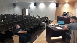 Un momento de la reunión celebrada en la sede de la Federación de Fútbol de Ceuta