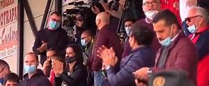 Aficionados del CD Cabecense, en las gradas del 'Carlos Marchena'