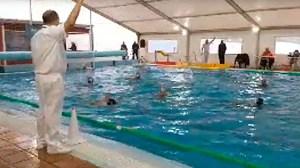 Un momento del partido disputado este sábado por la tarde en la piscina del CN Caballa