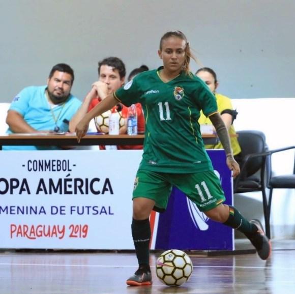 La jugadora boliviana, en un partido con su selección en la Copa América de Paraguay