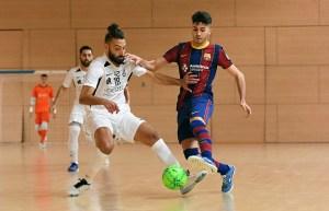 Lucas Francini, en el partido de la primera vuelta de la fase de ascenso ante el Barça B