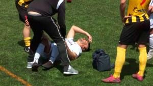 Dani Muñoz, el sábado, instantes después de lesionarse ante el San Roque de Lepe