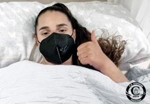 La jugadora del Camoens Elo Guerrero, tras ser intervenida