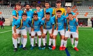 Formación del Sporting de Ceuta, este sábado en el 'Manuel Polinario' de Puente Genil