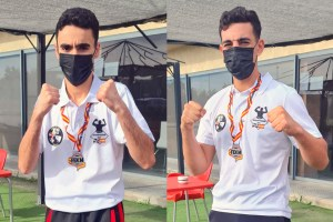Yhasin Enfeddal y Mohamed Mohamed, con las medallas de plata conquistadas en Guadalajara