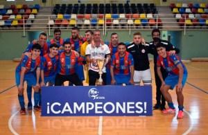 Los integrantes del CD Puerto, con el trofeo de campeón / Foto: FFCE